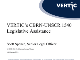 VERTIC`s CBRN-UNSCR 1540 Legislative Assistance