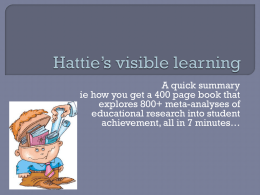 Hattie`s visible learning in 7 minutesx
