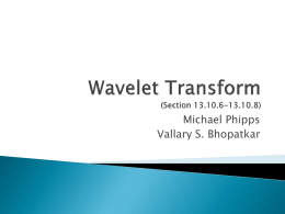 Wavelet Transform (Section 13.10.6