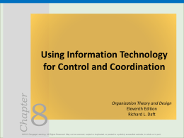 Chapter Using Information Technology for Control and Coordination