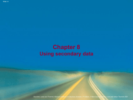 Chapter 8 Using secondary data