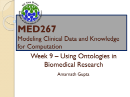 Week 8 * Using Ontologies in Biomedical Research