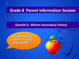 Grade 8 Parent Night