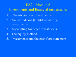 FA2: Module 8 Investments and financial instruments
