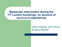 Bystander Intervention during the 7/7 London bombings: an account