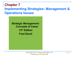 Chapter 7 Implementing Strategies