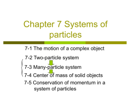 Chapter 7 Systems of particles