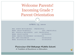 Grade 6 to 7 Parent Transition Presentation - The Plainview