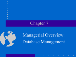 Chapter 7: Managerial Overview