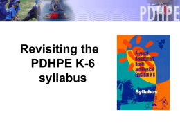 Revisiting the PDHPE K-6 Syllabus