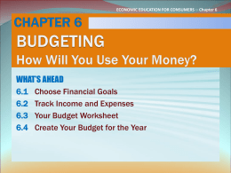 CHAPTER 6 BUDGETING How Will You Use Your Money?