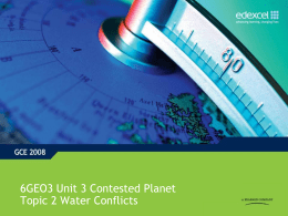 Support and guidance - Unit 3, topic 2 : Water Conflicts