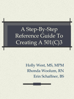 A Step-By-Step Reference Guide To Creating A 501(C)3