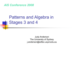 Patterns and Algebra in Stages 3 and 4