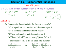 Section 6.4 – Logarithmic Functions