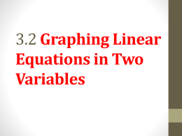 3.2 Graphing Linear Equations in Two Variables