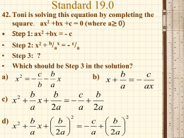 Algebra Released Questions 42-64