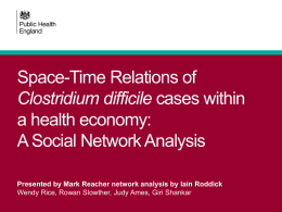 Space-Time Relations of C Difficile Cases