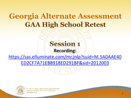 Session 1 - Georgia Department of Education