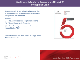 ACSF Pre level 1 Learning * DRAFT LEARNING PRE LEVEL 1