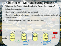 Chapter 9 * Manufacturing Process