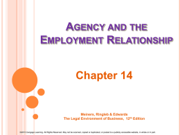 Chapter 9--Business Organizations & the Law of Agency