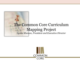 Common Core Curriculum Mapping Project