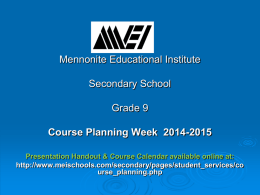 Grade 9 Course Planning 2014-2015