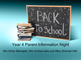 Year 4, Parent Information Night