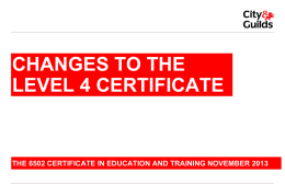 to achieve the level 4 certificate in education and