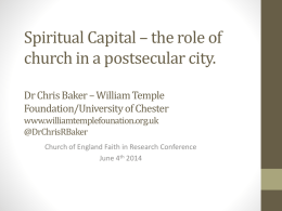 Session 4: The City as Text: Towards an urban practical theology