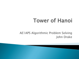 Towers of Hanoi - School of Computer Science