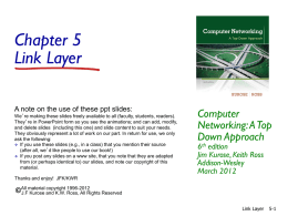 Ch. 5: Link Layers - Department of Computer Science
