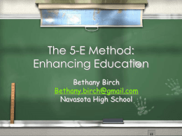 The 5-E Method for Enhancing Education