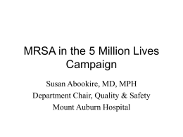 MRSA in the 5 Million Lives Campaign