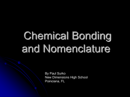 Chapter 5 Chemical Bonding and Nomenclature