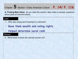 Chapter 5 Section 1 Early American Culture