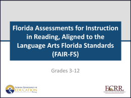 PMRN & FAIR-FS for Grades 3-12 - Florida Center for Reading