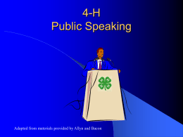 Generic Public Speaking PowerPoint slides. - Georgia 4-H