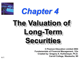 Chapter 4 -- The Valuation of Long-Term Securities