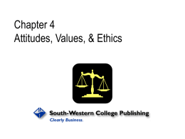 Chapter 4 Attitudes, Values, and Ethics Nelson and Quick
