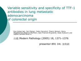 Variable sensitivity and specificity of TTF