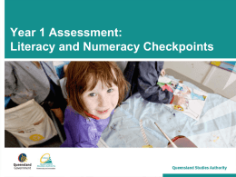 Year 1 Assessment: Literacy and Numeracy Checkpoints
