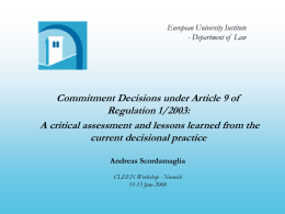 Commitment Decisions under Article 9 of Regulation 1/2003: A Critical