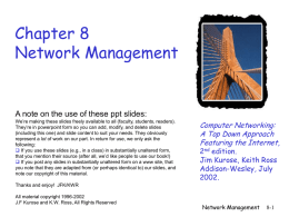 Chapter 8: Network Management