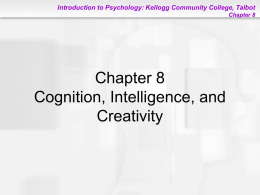 Chapter 8: Cognition, Intelligence and Creativity