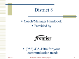 District 8 – Coaches and Managers Handbook