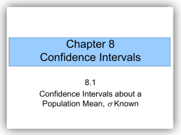 Chapter 8 Confidence Intervals