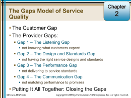 Key Factors Leading to Provider Gap 1