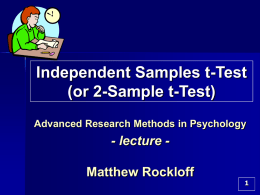 Independent Samples t-Test (or 2-Sample t